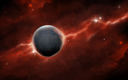 Spacescape with a rocky planet and a red nebula. Digital illustration.
