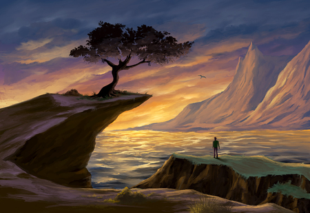 Seascape at sunset. A tree is standing on top of a sea cliff. Digital painting. Reklamní fotografie