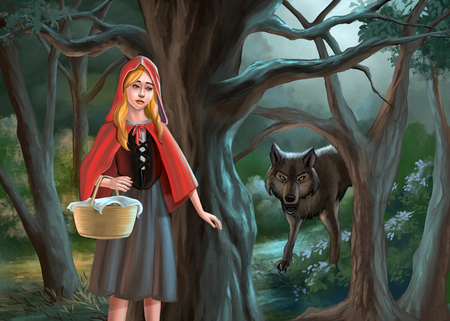 Red riding hood and the wolf. Digital illustration. Фото со стока