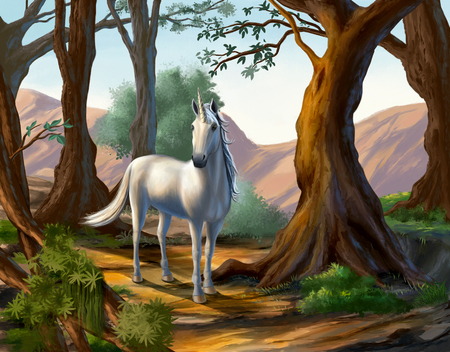Unicorn standing in a beatiful forest. Original digital painting.