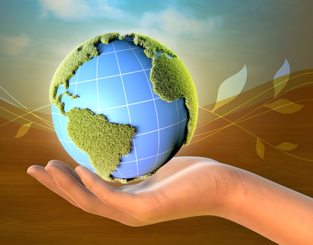 Female hand holding planet Earth. Continents are covered in grass. 3D illustration.