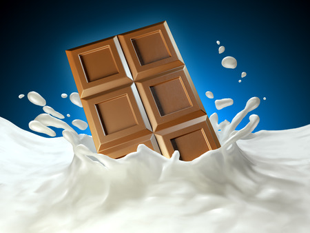Chocolate bar splashing into some milk. 3D illustration.