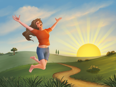 Happy girl jumping over a green landscape at sunset. Digital illustration. Stock Photo
