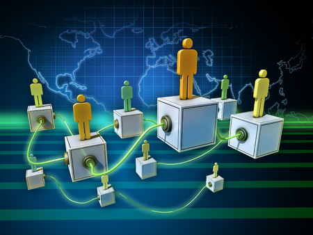 People network over a world map background. 3D illustration.