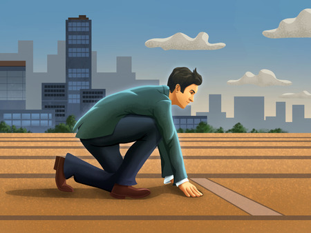 Businessman at the starting line. Digital illustration