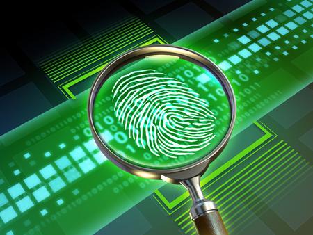 Magnify lens scanning some code and revealing a fingerprint. 3D illustration.