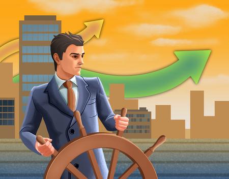 Confident businessman as a helmsman at a ship's wheel. Digital illustration.