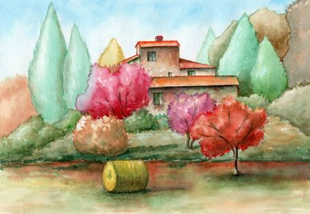 Rural ladscape with an old ranch and some colorful vegetation. Watercolor illustration.