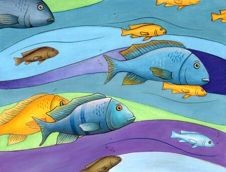 Decorative composition of some colorful fishes. Mixed media illustration on paper.
