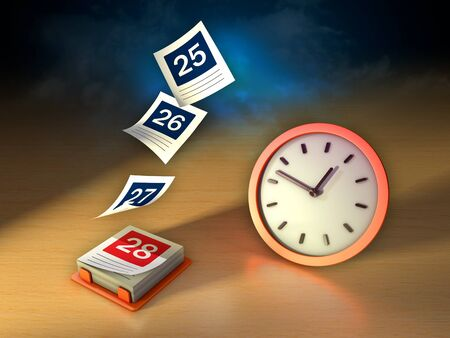 Calendar with its pages flying off and a clock. Conceptual image about the flowing of time. 3D illustration. Stock Photo