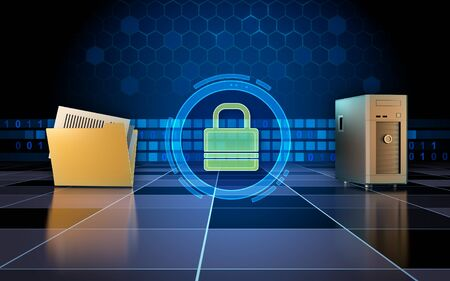 Secure connection between a workstation and a remote file location. 3D illustration. Stock Photo