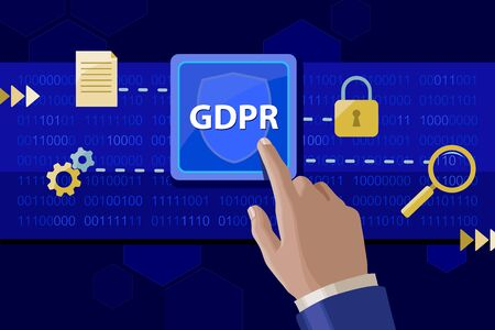 Implementing Gdpr policies on personal data. Vector illustration. Stock Photo