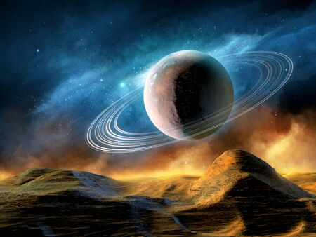 Space panorama with ringed planet and a colorful nebula. 3D illustration.