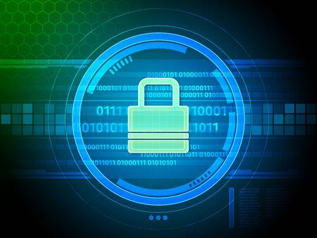 Security lock protecting a data stream. Digital illustration. Stock Photo