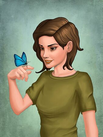 Cute girl looking at a butterfly resting on her hand. Digital illustration.