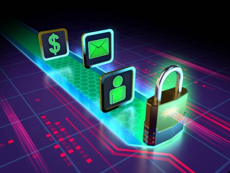 Protecting your data in the digital world. 3D illustration.