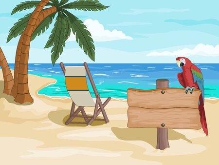 Tropical beach with some palm trees, a beach chair and a colorful parrot perched on a wooden signpost. Vector illustration.