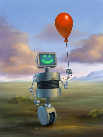 Cute robot holding a red baloon. Digital illustration.