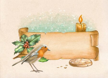 Christmas composition including a paper banner, some holly and an european robin looking at a crumbled biscuit. Watercolor and colored pencil illustration on toned paper.