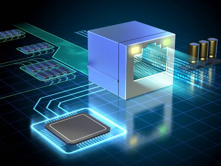 Ethernet port managed by a powerful processor. 3D illustration. Stock Photo