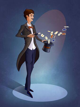 Cartoon illusionist performing a card trick on stage. Digital illustration.