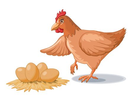 Hen and some fresh eggs. Vector illustration. Stock Photo