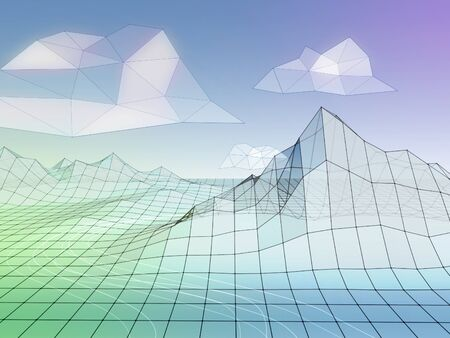 Minimalist wireframe landscape with pastel colors. 3D illustration