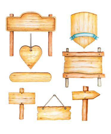 Watercolor wood signposts, in different shapes and sizes. Traditional watercolor illustration.