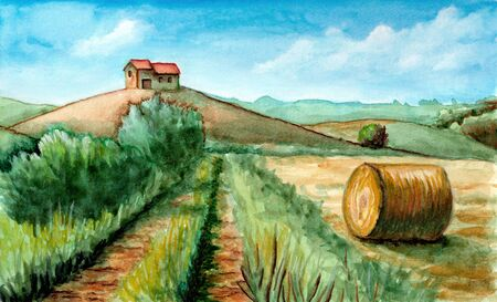 Rural landscape with ranch and round bale. Watercolor and gouache illustration. Stock Photo