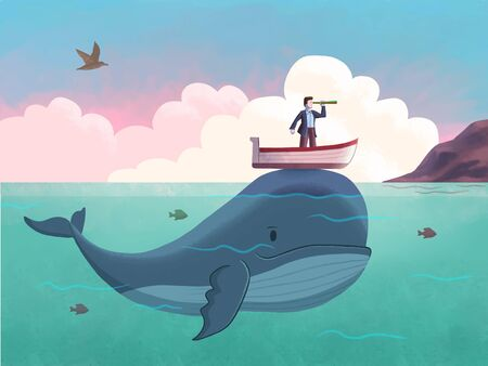 Man with his boat is sailing the sea on top of a cute blue whale. Digital illustration. Reklamní fotografie