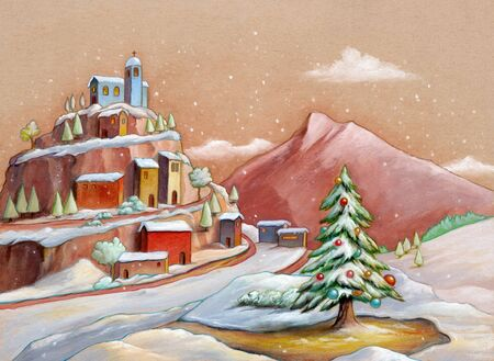 Snowy landscape with a small village and a Christmas tree. Mixed media illustration on toned paper.