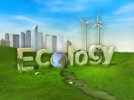 Ecology word created by some giant letters in a green meadow. 3D illustration.