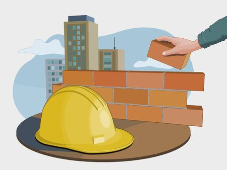 Construction industry composition inclunding a security hat, a worker building a wall and some buildings on the background. Vector illustration. Reklamní fotografie