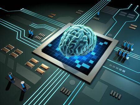 Digital brain on a printed circuits board. 3D illustration. Stock Photo