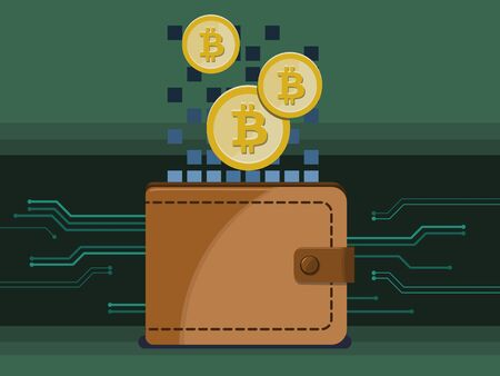 Electronic wallet used to store bitcoins or other cryptocurrencies. Vector illustration.