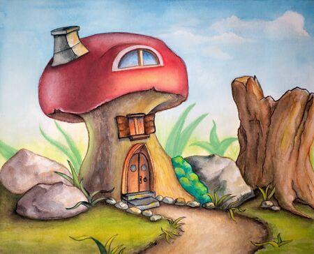 Cute mushroom house in a sunny landscape. Watercolor illustration.