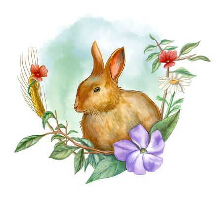 Rabbit and floral composition. Watercolor illustration.