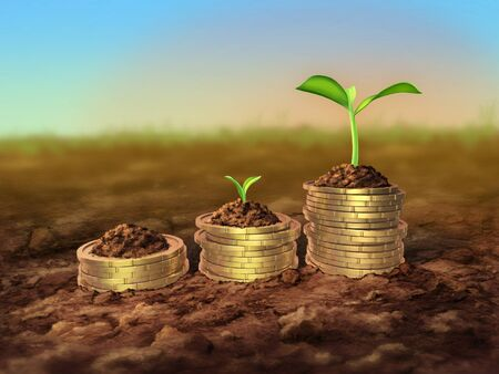 Some seedlings growing up on top of coin piles. 3D illustration and digital painting. Stock Photo