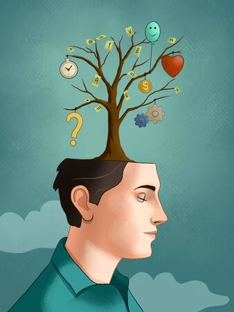 Tree growing from a young male's head, with different thoughts developing from each branch. Digital illustration.
