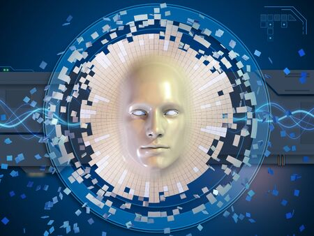 Conceptual image of an head mask dissolving into an high technology background. 3D illustration.