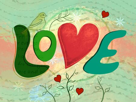 Mixed media composition about love, with heart and text. Digital illustration. Stock Photo