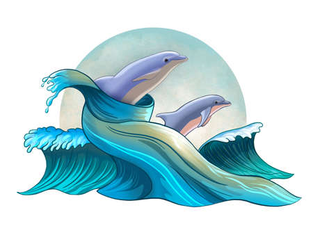Some dolphins jumping between stylized waves. Digital illustration. Stock Photo