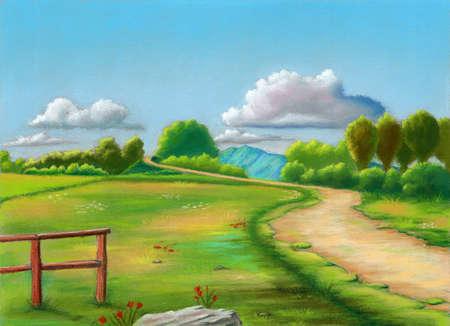 Rural landscape during spring. Original pastel illustration on sanded paper. Stock Photo