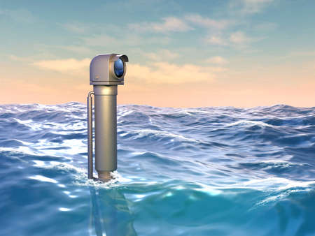 Persicope looking over a wavy water surface. 3D illustration. Stock Photo