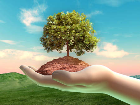 Tree and some soil in a cupped hand. Digital illustration. Stock Photo