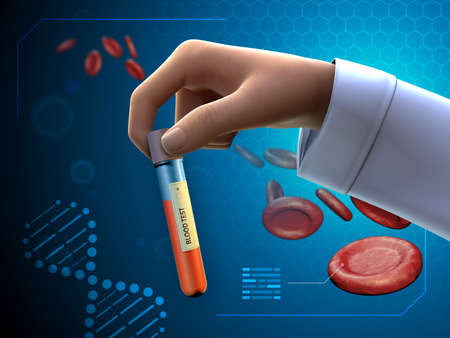 Health professional holding a blood sample. Digital illustration.