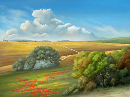 Rural landscape with a gorgeous cloudscape and some lush vegetation. Digital painting. Reklamní fotografie
