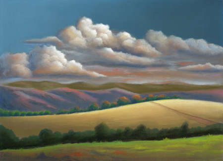 Country landscape at dusk with a bright cloud formation. Pastel painting on sanded paper.
