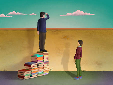 Man using piles of books to create a stair and look over a wall. Digital illustration. Stock Photo