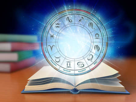 Wheel containing the twelve zodiac sign over a glowing background with an open book. Digital illustration.